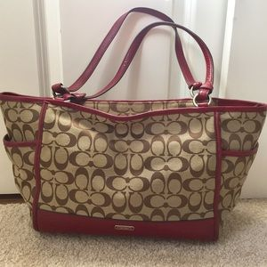 Coach signature fabric tote pink leather trim NEW